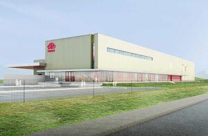 マルタイが唐津市石志の工業団地内に建設を予定する新工場の完成予想図(同社提供)