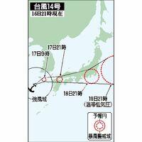 台風14号の予想進路(16日21時現在)