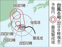 台風6号の予想進路(22日0時現在)