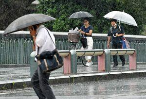 午後から降り出した雨で傘を差す通行人。梅雨入りに農家から安心する声が聞かれた一方、災害への不安の声もある=佐賀県庁前(撮影・鶴澤弘樹)