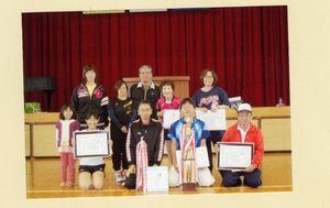 高木瀬体育協会スポーツ大会 卓球個人戦で上位入賞した選手たち