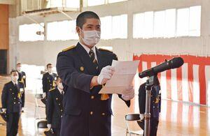 入校生を代表し、宣誓した中島優生さん=佐賀市兵庫町の県消防学校