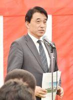 ごみ処理施設の事務組合管理者として、あいさつする横尾俊彦多久市長=多久市北多久町