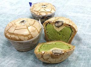 期間限定で販売される伊万里焼饅頭の緑茶味