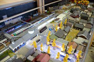 JR有田駅周辺のジオラマと鉄道模型