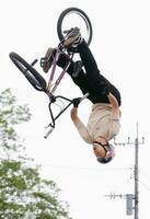 BMXフリースタイル・パークのジャパンカップ男子エリートで優勝した中村輪夢=茨城県境町