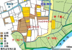 鳥栖市曽根崎町南部の地籍図