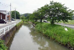 大雨が降ると水があふれる通瀬川。横の町道が通行止めとなる=みやき町東尾