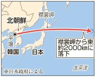 北朝鮮ミサイル、日本を通過