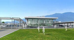 敷地東側(国道34号側)から見た新庁舎のイメージ(鳥栖市提供)