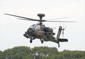 AH-64D(アパッチ)=佐賀県吉野ヶ里町の陸上自衛隊目達原駐屯地(2015年10月撮影)