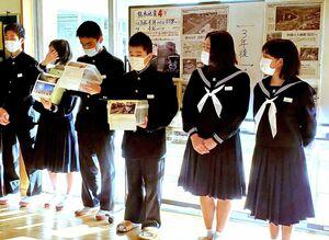 16日と17日に行われた募金活動の様子=唐津市肥前町の肥前中学校(同校提供)