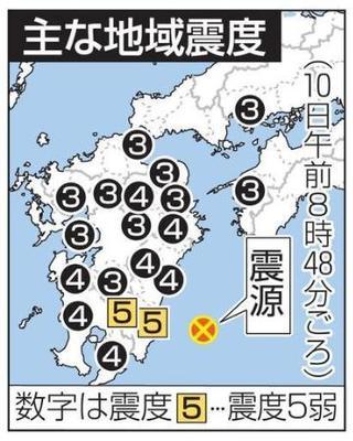 宮崎で震度5弱、M6・3