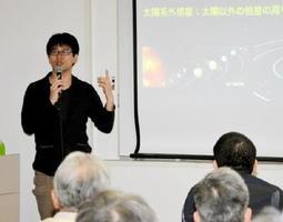 太陽系外惑星の発見による宇宙観の変容を語る京都大学の佐々木貴教助教=唐津市東唐津の虹の松原ホテル