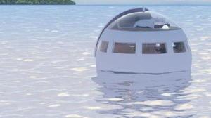 ハウステンボスが開発中の、海に浮かぶ移動式球体型ホテルの完成イメージ(ハウステンボス提供)