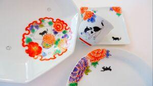 華仙さんの「手描き・かわいいお花丸紋と子猫のうつわセット」