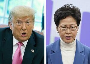 トランプ米大統領(ゲッティ=共同)、香港の林鄭月娥行政長官