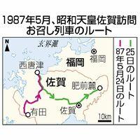1987年5月、昭和天皇佐賀訪問お召し列車のルート