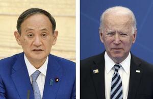 菅義偉首相(左)とバイデン米大統領(AP=共同)
