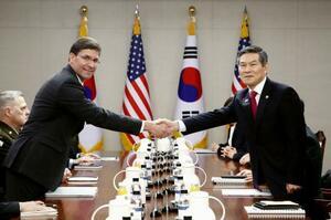 15日、ソウル市内で握手するエスパー米国防長官(左)と韓国の鄭景斗国防相(共同)