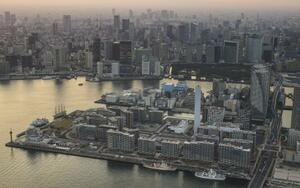 東京都中央区の臨海部。手前は五輪選手村=2020年3月