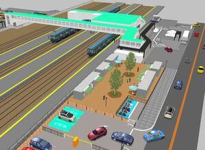JR肥前山口駅北口に整備されるコンテナショップ(中央)と周辺のイメージ図