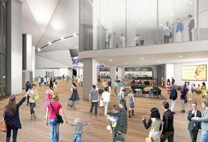新設されるアリーナ2階の玄関広場のイメージ図(佐賀県提供)