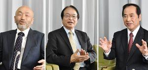 (右から届け出順)伊万里市長選挙・塚部芳和氏、深浦弘信氏、井関新氏