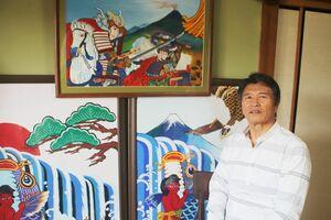 團さんが孫たちの節句祝いに描いた武者絵とコイの絵