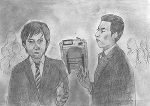 裁判員裁判の公判で40人を超える証人に対し、質問を重ねた検察側(右)と弁護側(絵・円田浩二)