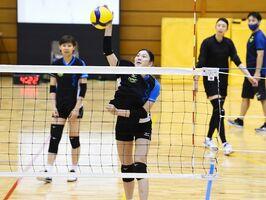 佐賀合宿でアタックを練習する久光スプリングスの今村優香=SAGAサンライズパーク総合体育館