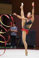 新体操女子個人 優勝した佐賀女子・仙波紘佳のリボンの演技=宮崎市の宮崎県体育館