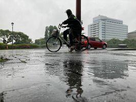 朝から降り続く雨で水溜りができた佐賀市内=15日午前、同市