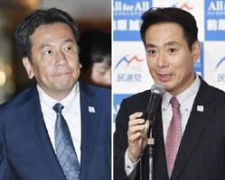 民進党の代表選に挑む枝野幸男氏(左)と前原誠司氏=31日夜、東京都内