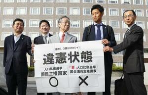7月の参院選「1票の格差」訴訟の札幌高裁判決を受け、「違憲状態」と書かれた紙を掲げる升永英俊弁護士(中央)ら=24日午後、札幌高裁前