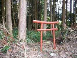 伊万里市二里町中里の林縁に設置されている「ごみ鳥居」