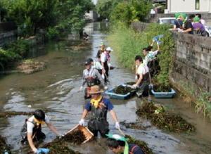 多布施川の水草を刈り取る佐賀銀行の行員たち=佐賀市