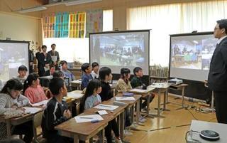 被災地の小学校で遠隔合同授業