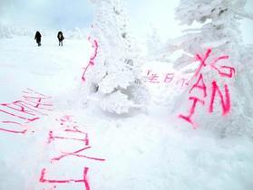樹氷落書き容疑で外国人の男逮捕