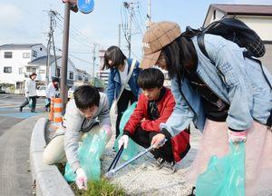 コース周辺でごみを拾い集める参加者=佐賀市の堀江通り交差点周辺