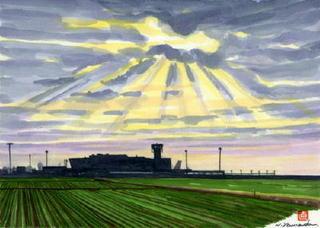 「九州佐賀国際空港」天使の梯子神々しく