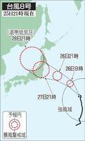 台風8号の予想進路(25日21時現在)