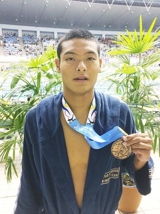 佐賀学園の松田龍選手が3位 全国高校総体水泳