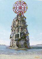 平薮健さんの「ようこそ希望の島」(F4号、白亜地、油彩)