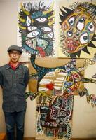 三好直樹さんと「人が良すぎるもののけ」=佐賀市白山のトネリコカフェ