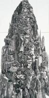 「巌ノ王」(1998年、紙にペン、インク、195×100㌢、おぶせミュージアム・中島千波館蔵?IKEDA Manabu Courtesy Mizuma art Gallery)