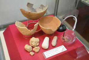 黒岩前田遺跡の4号住居跡から出土した土器や粘土塊など=唐津市菜畑の「末盧館」