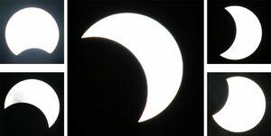 最大63%の「食」を観測した午後5時10分の太陽(中央)。左上は50分前、左下は20分前、右上は20分後、右下は40分後=佐賀市内(減光フィルターを3枚重ねて撮影)
