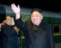 ロシアへ向けて出発する北朝鮮の金正恩朝鮮労働党委員長。朝鮮中央通信が24日伝えた(朝鮮中央通信=共同)