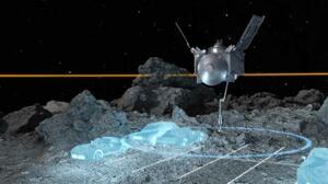 探査機オシリス・レックスの着陸状況を表すイメージ図。青い線で囲まれた車数台分の限られたエリアを狙う(NASAなど提供)